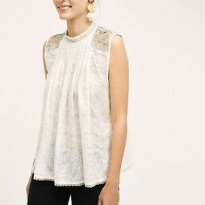 Anthropologie beaded lace white tank top